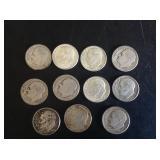 11 - Roosevelt Dimes 90% Silver
