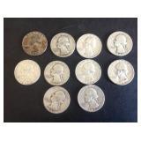 10 - Washington Quarters 90% Silver