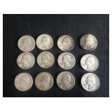 12 - Washington Quarters 90% Silver