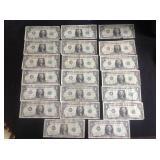20 - 1963 Series B Joseph W Barr Dollar Bills