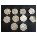 10 - Kennedy Half Dollars 40% Silver