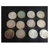 12 - Kennedy Half Dollars 40% Silver
