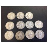 11 - Washington Quarters 90% Silver