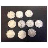 10 - Canadian Quarters 80% Silver