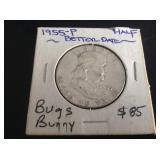 1955 Franklin Half Dollar Bugs Bunny