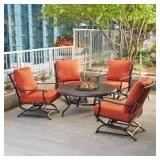 Hampton Bay Redwood Valley 5-Piece Metal Patio Fire Pit Seating Set with Quarry Red Cushions not used