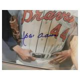 """HANK AARON EDDIE MATHEWS AUTOGRAPHED PHOTO APPROX 26"""" BY 24"""" PROFESSIONALLY FRAMED! - VERY NICE PIECE! - UNFRAMED 8 BY 10s ARE SELLING FOR $400.00 - SEE PICTURES!"""