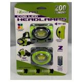 COB LED 3 Setting 2 Pack Headlamps (batteries included)