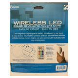 Lot of 2 Wireless LED Color Changing 2 Pack Lights w/ Remote