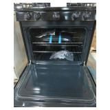 GE 30 in Hotpoint Freestanding Gas Range in Black, RGB525DEH3BB - Dents/Scratches on Back of Range Top Hinged Area, Slight Ding on RH Front Door