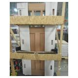 Steves & Sons 36 in. x 80 in. Shaker 3 Lite, 2 Panel, Unfinished Mahogany Wood Front Door Slab - No Bore. NEW IN CRATE