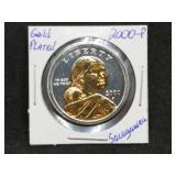 2000 P Sacagawea one dollar gold - silver plated coin