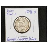 1891 O Seated Liberty Dine Very Fine Plus