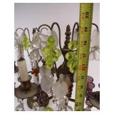 Quality Vintage Solid Cast Brass & Glass Grape Cluster Table Lamps