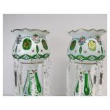Stunning Pair of Antique Bohemian Hand Painted Enameled Cut Glass Mantel Lusters