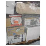 PALLET LOT OF GENERAL MERCHANDISE , SMALL HOUSEWARES, LIGHTING, HEATERS,