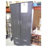 2-Door Armoire with 2-Drawers in Black