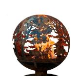 Esschert Design Wildlife 24 in. x 28 in. Round Steel Wood Burning Fire Pit in Rust
