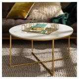 36 in. Faux Marble/Gold Coffee Table with X-Base by  Walker Edison Furniture Company