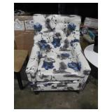 Jaclyn Tufted Multi-Colored Floral Fabric Club Chair with Stud Accents by  Noble House
