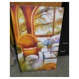 "30"" x 47"" Living Room Setting Canvas Artwork Print"