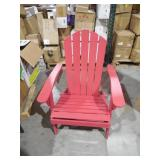 POLYWOOD Traditional Curveback Sunset Red Plastic Outdoor Patio Adirondack Chair
