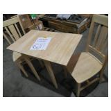 Small Drop Leaf Wood Unfinished Dining Table & 2 Chairs by  International Concepts
