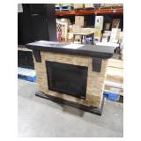 Home Decorators Collection Highland 50 in. Faux Stone Mantel Electric Fireplace in Tan