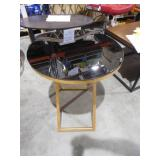 Riona Gold and Black Glass Top End Table by  Safavieh