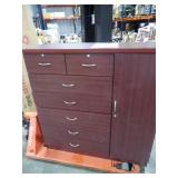 7-Drawer Mahogany Chest with Door by  Hodedah