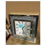 Noralie Mirrored and Faux Diamonds Wall Clock by Acme Furniture SEE PICS SMALL CRACK