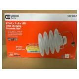 Commercial Electric 5/6 in. Matte White Integrated LED Recessed Trim 5-Ways (4-Pack) not used