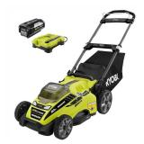 RYOBI  20 in. 40-Volt Brushless Lithium-Ion Cordless Battery Walk Behind Push Lawn Mower 5.0 Ah Battery/Charger Included in good conditions