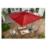 Hampton Bay 8 ft. Square Aluminum Cantilever Offset Patio Umbrella in Chili in good conditions
