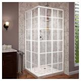 Dreamline French Corner 34-1/2 in. D x 34-1/2 in. W x 72 in. H Framed Sliding Shower Enclosure in White. Missing Box - Only two Panel Doors