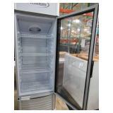 Premium 9 cu. ft. Single Door Merchandiser Refrigerator in White, PRF90DX - Dented Top, Cracked Front Vent, Missing Keys.