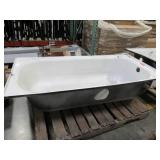"""Briggs Cast Iron Left Drain - 60"""" X 30"""" X 14"""" - Enamel damage on Left and Right Hand Sides."""
