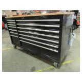 Husky 62 in. 14-Drawer Mobile Workbench with Solid Wood Top, Black, HOTC6214B11MYS - Front Scratches