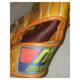 3 leather baseball gloves, Softball. All Pro, King, Mizuno.