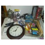 Miscellaneous vintage, paint supplies, clock and more.