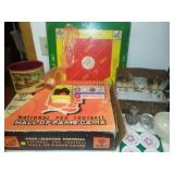 Miscellaneous games, lunch box, Fire King bowl and more.
