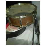 Vintage 1966 Ludwig snare drum and stand. COPPER