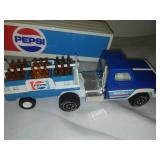 Pepsi semi-truck, two trailers.