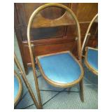 4 Wood and upholstered folding chairs - great condition!