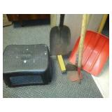 stool, axe, shovels and hoe - all very good condition.