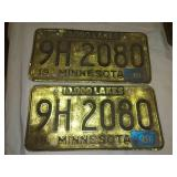 Minnesota license plate 1961 matched pair.