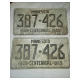 License plates Minnesota 1949 matched pair.