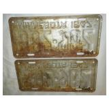 License plate Minnesota centennial 1947 matched pair.