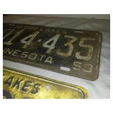 License plate Minnesota 1953 and 1958.
