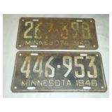 192 license plates Minnesota 1940 and 1946.